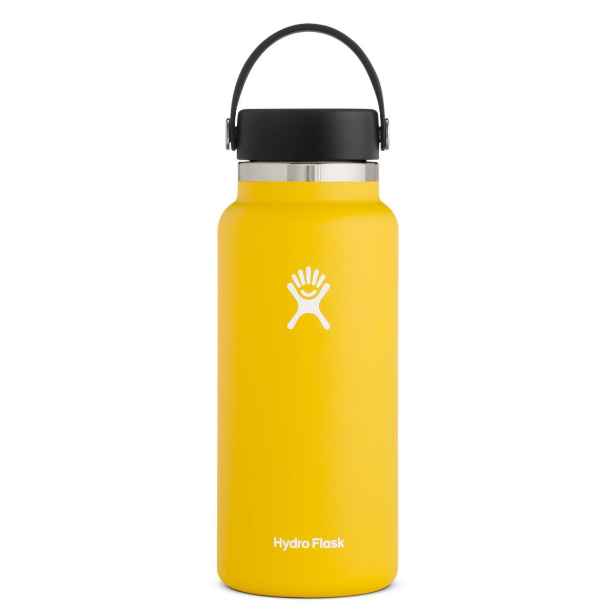 yellow water bottle with black lid and handle