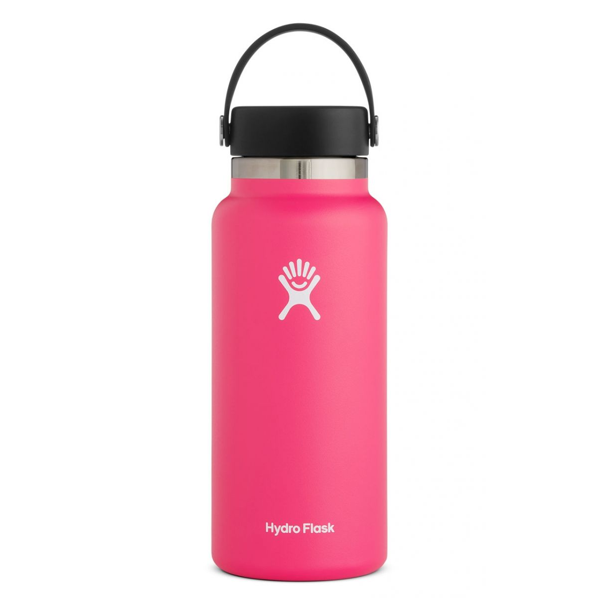pink water bottle with black lid