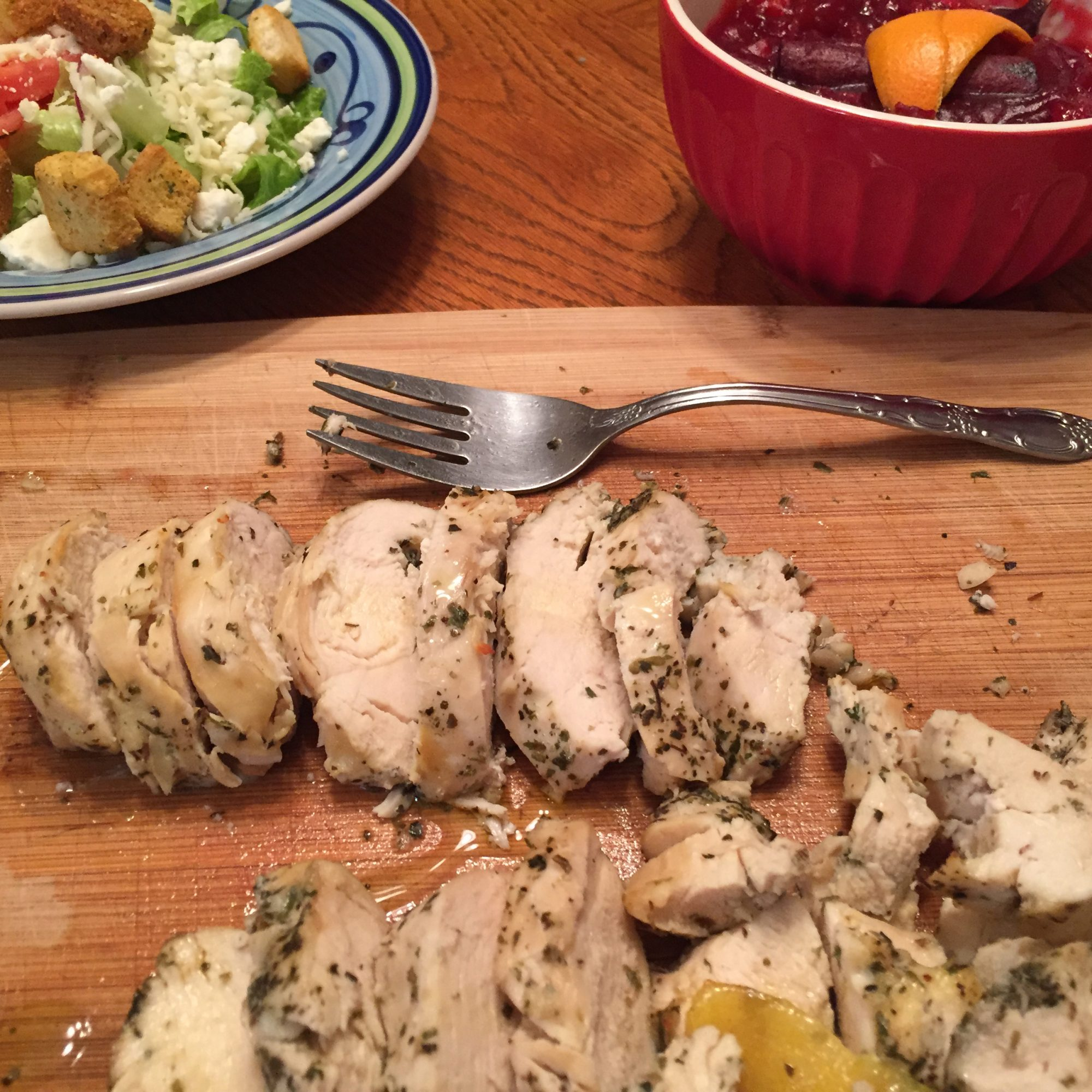 Sous Vide Chicken Breast on a wooden cutting board