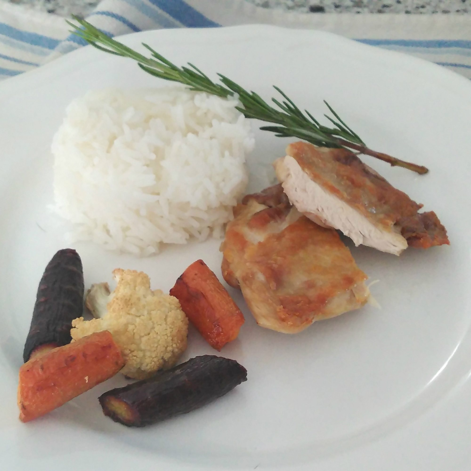 Succulent Sous Vide Chicken Thighs on a white plate