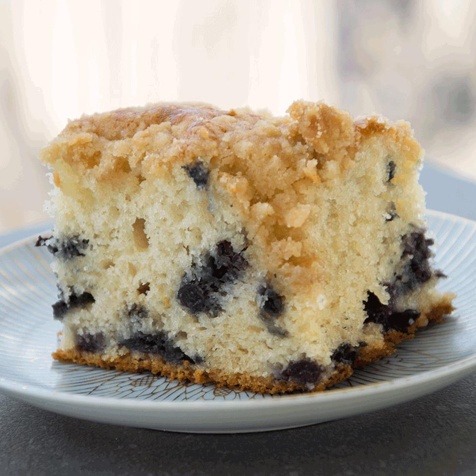 piece of blueberry cake on plate