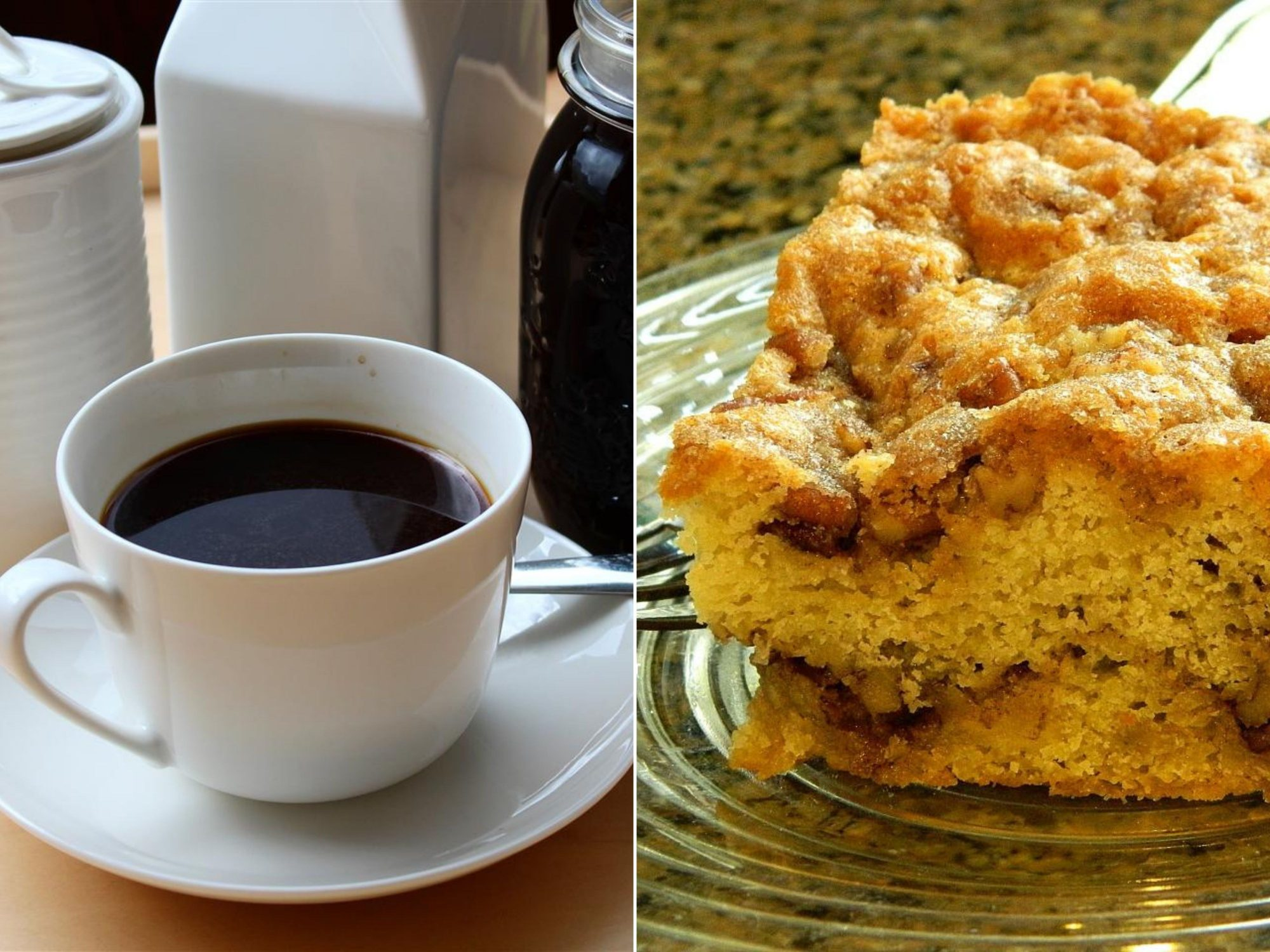 an image pairing a cup of black coffee and pecan cake