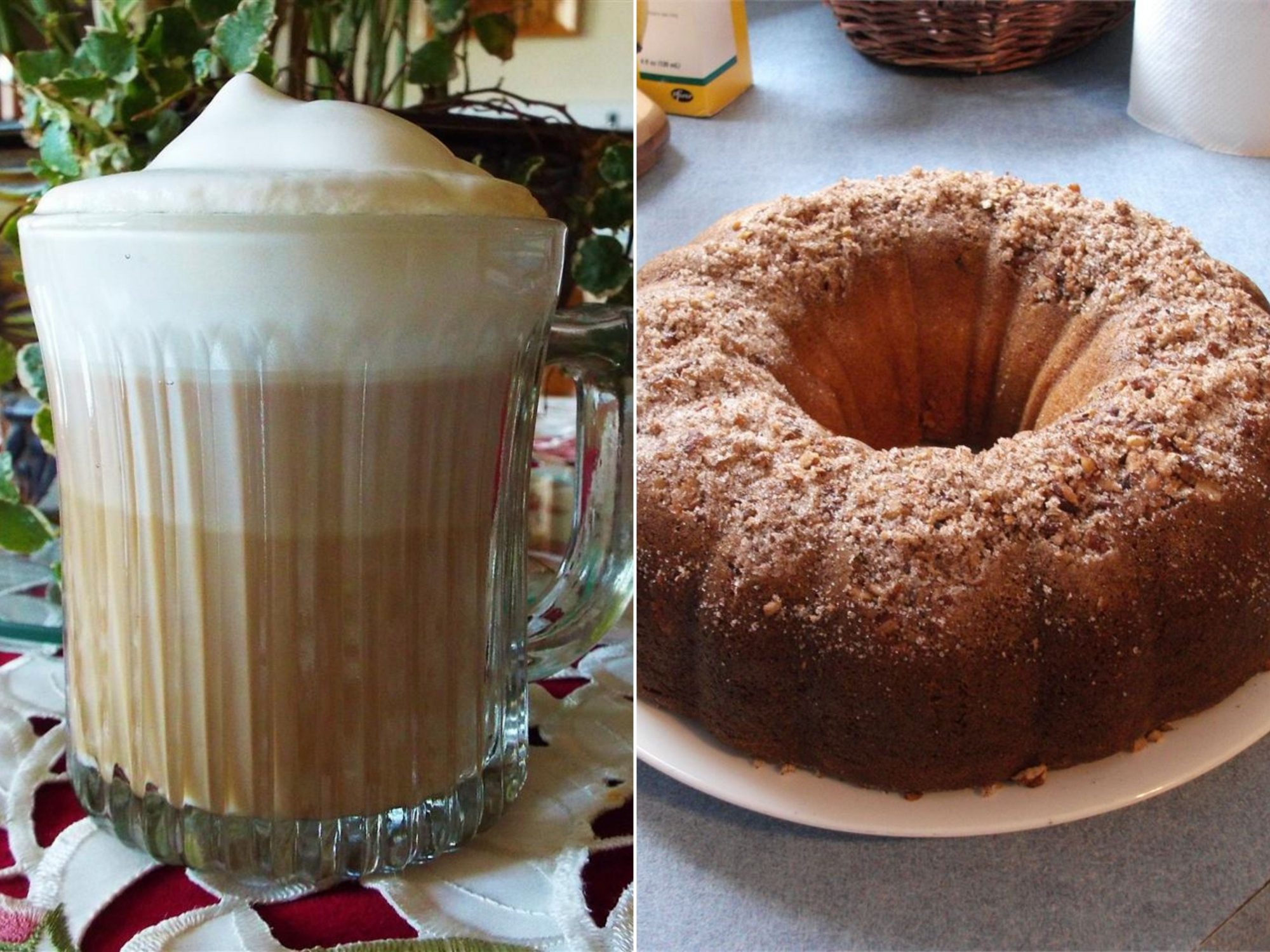 an image pairing a cappuccino and coffee cake