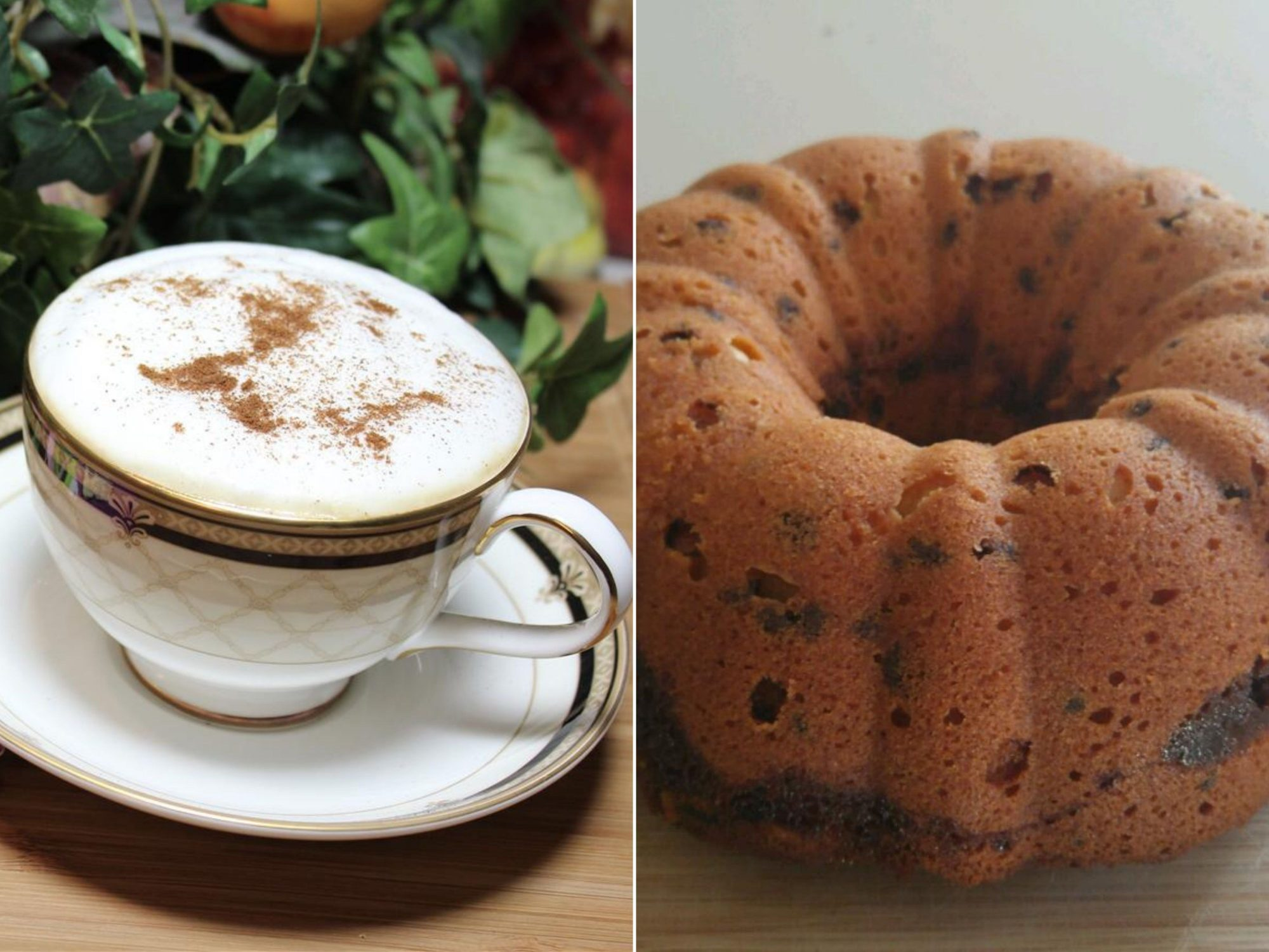 an image pairing a latte and a coffee cake