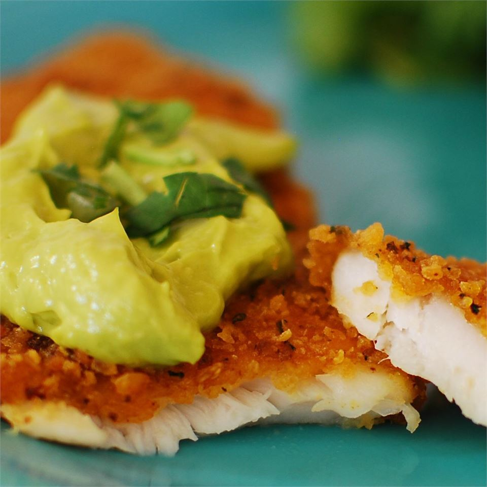 green sauce with fried tilapia