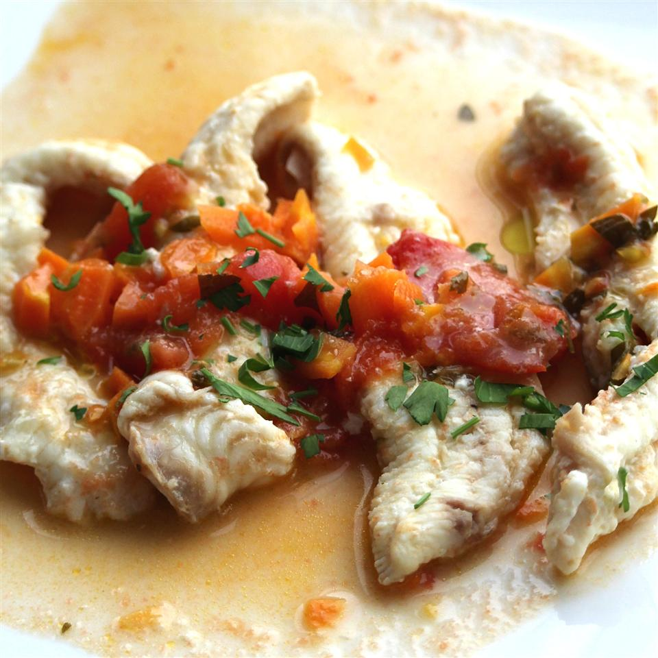 white fish with tomato sauce