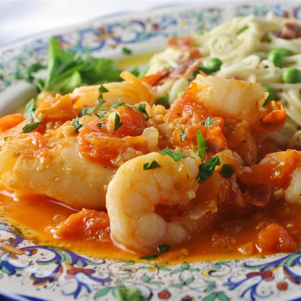 red sauce with fish and shrimp
