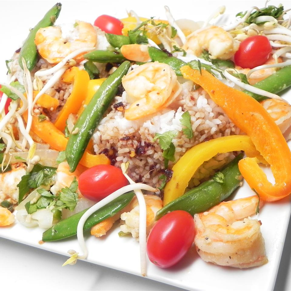 shrimp, snap peas, bell peppers, cherry tomatoes, and rice