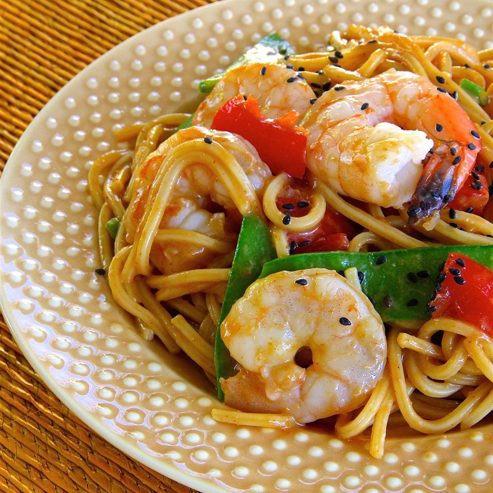 noodles with veggies and shrimp on plate