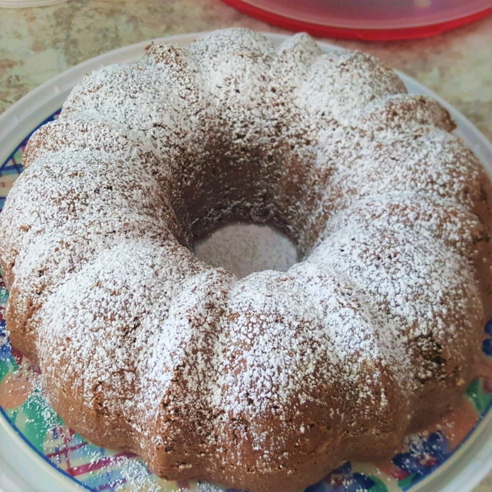 a Bundt cake dusted with powdered sugar