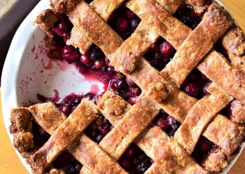 """""""I made this pie as a way to use up some of the beautiful late summer fruit that Michigan has to offer,"""" says recipe creator Kim."""