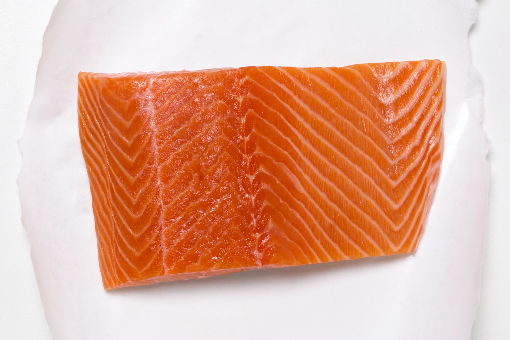fresh salmon filet on a piece of wax freezer paper