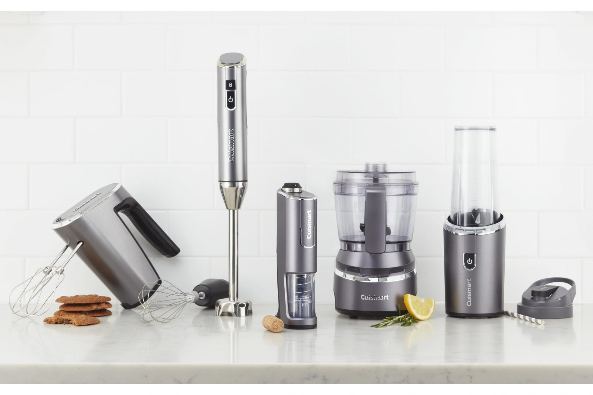 cuisinart EvolutionX cordless appliance line in front of a tiled background on a kitchen counter