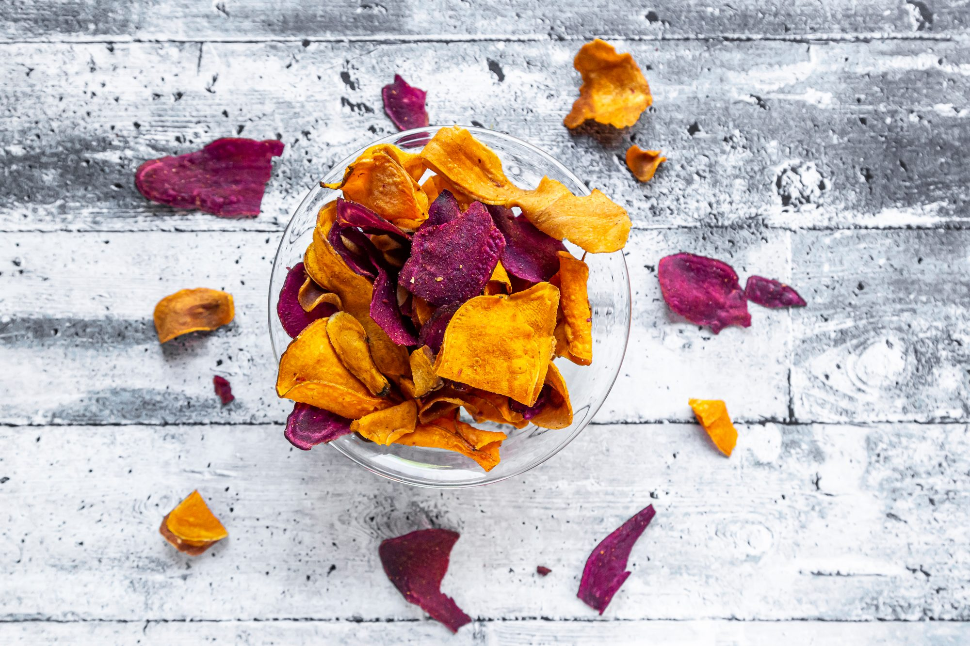 roasted vegetable chips in a bowl