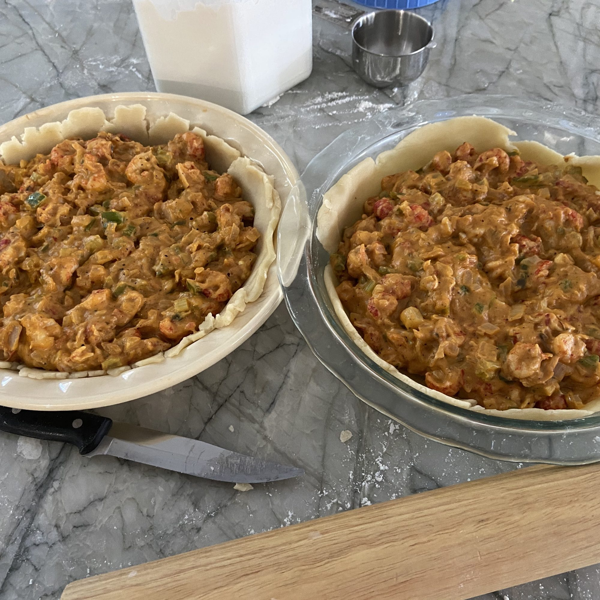 It's plentiful in the Creole State, and it happens to make one of the best savory pie fillings. Crawfish is joined with plentiful spices, onion, bell pepper, and tomatoes, to make a well-seasoned savory pie filing. If diners at your table don't like heat, scale back on the cayenne, and offer others a bottle of one of Louisiana's famous hot sauces.