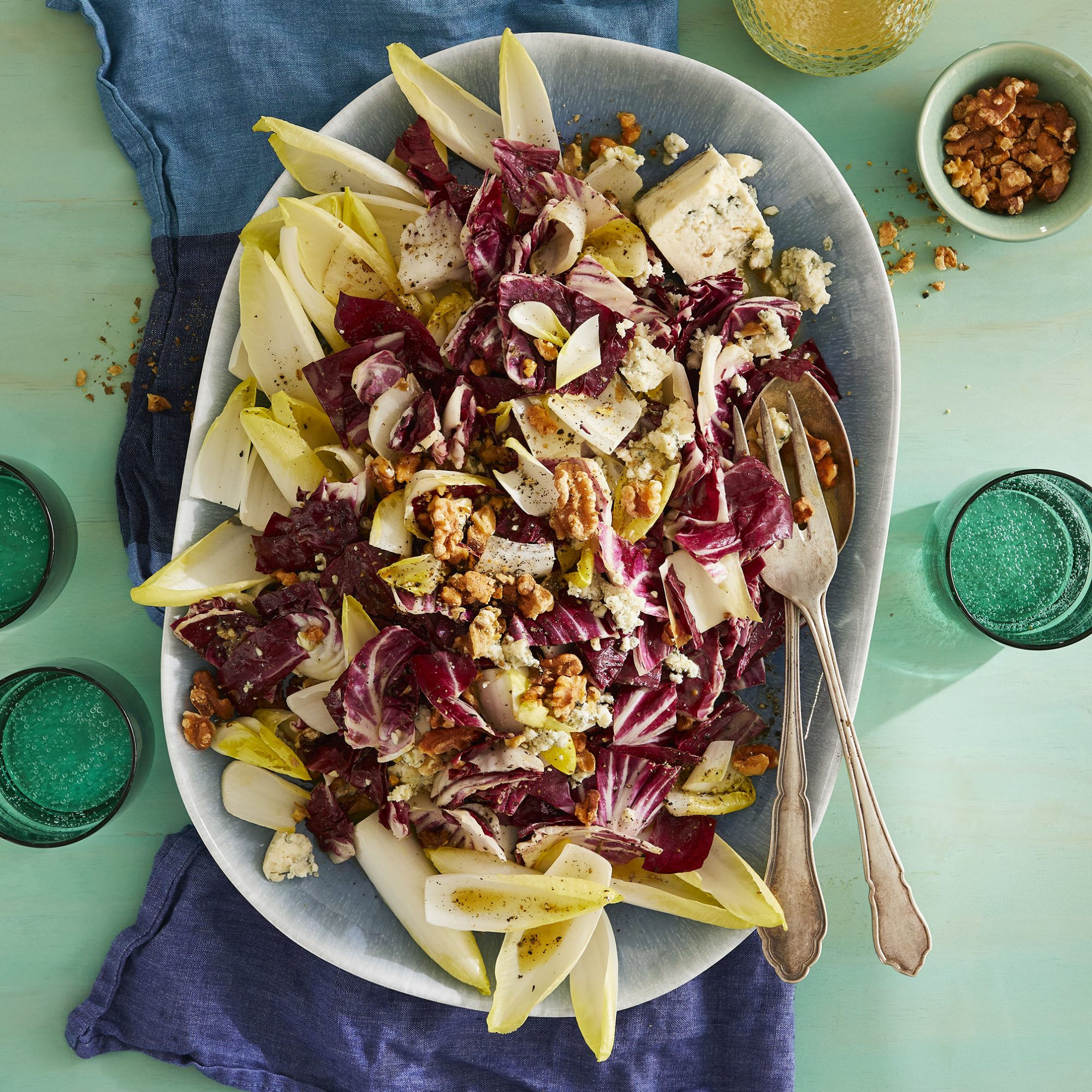 Family style Blue Cheese, Walnut and Chicory Salad