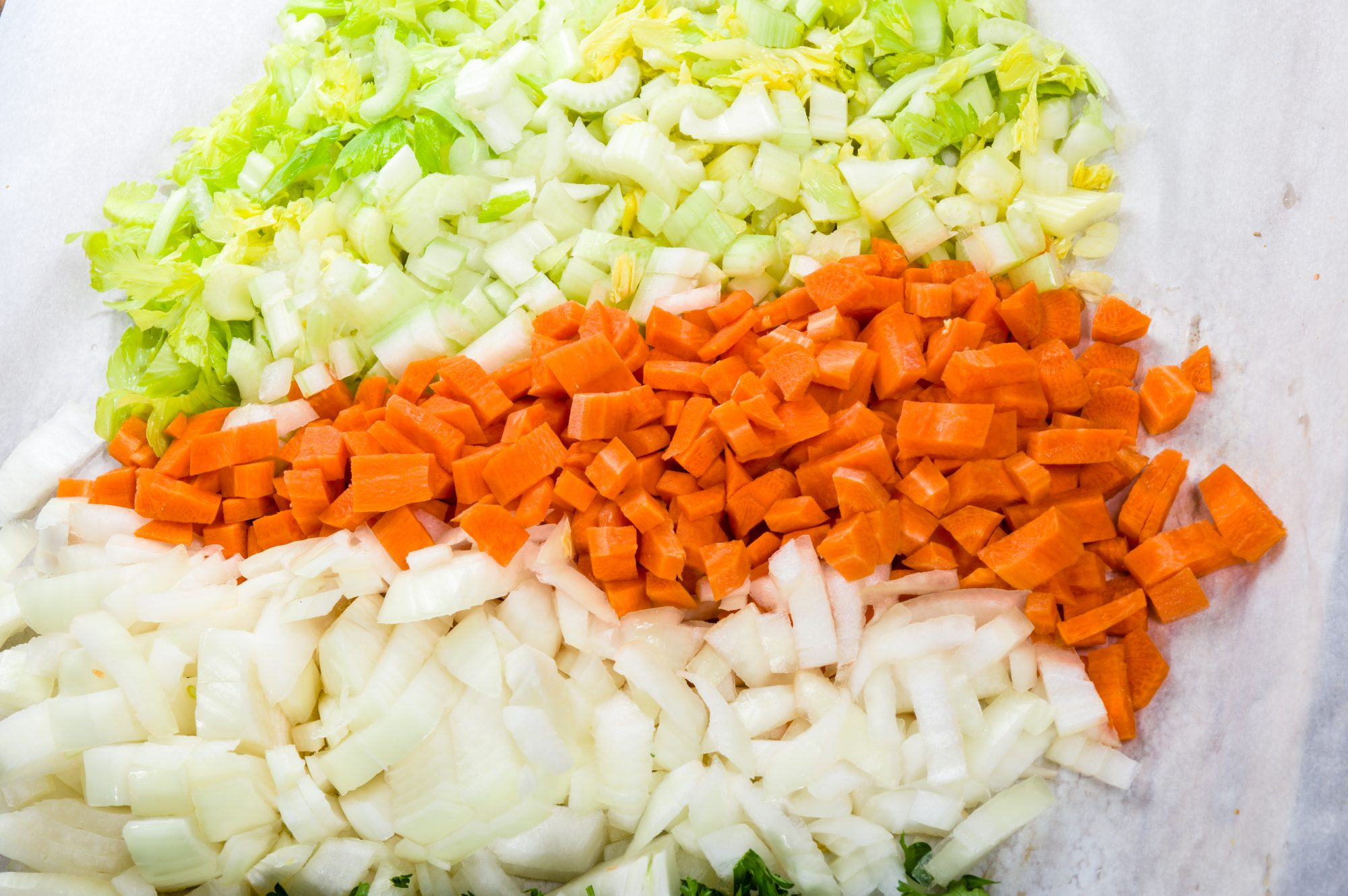 Preparation for soup with carrots, onions and celery