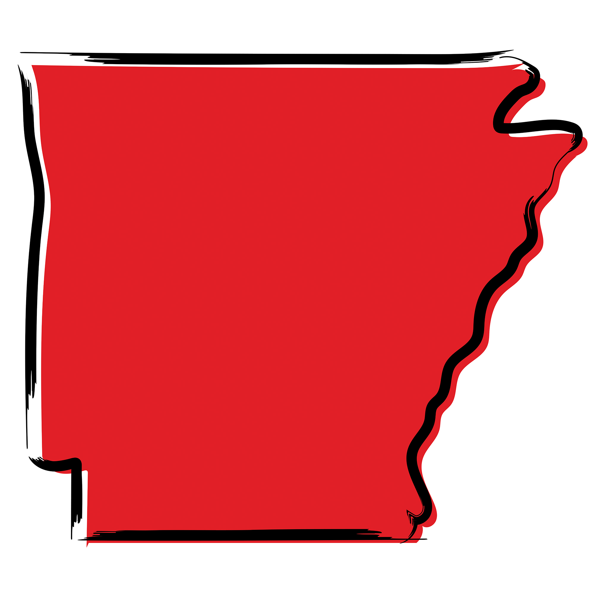 illustrated image of arkansas in red with black outline