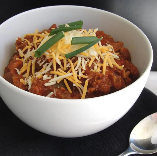 """This one-pot chili works in a Dutch oven or in a slow cooker. The easy recipe is """"great on a cold night,"""" according to recipe creator Cynthia C O'Connor."""
