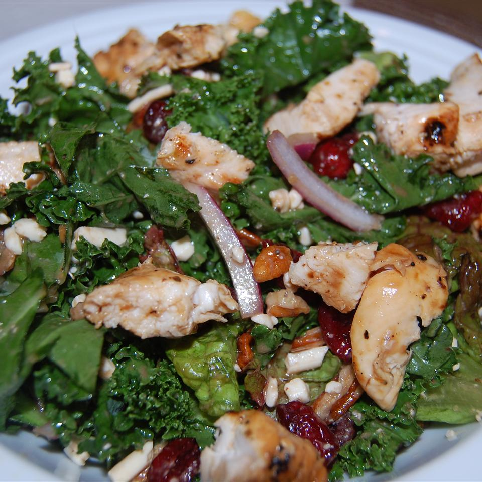 kale, chicken, red onions, nuts, and cranberries in dressing