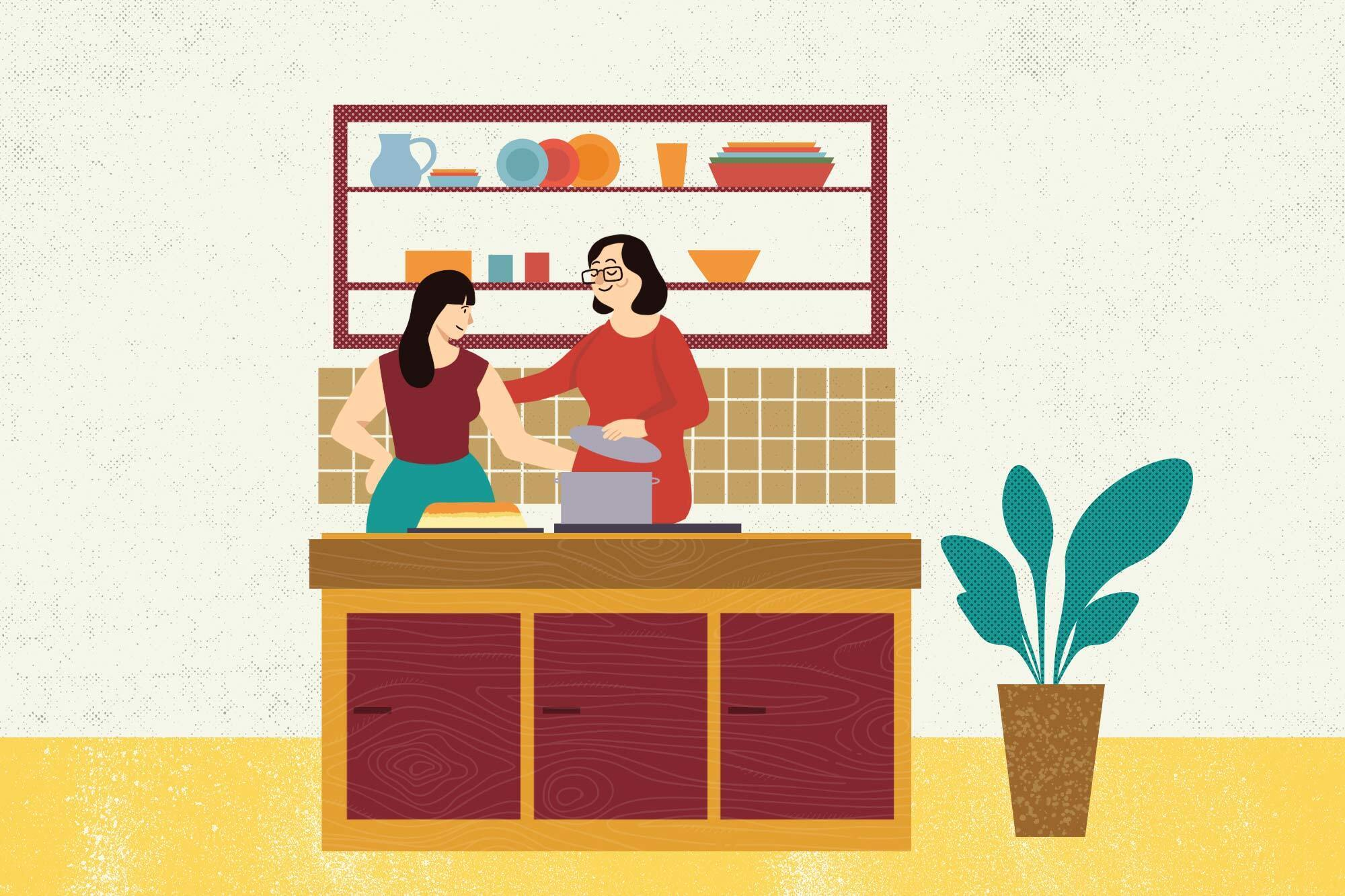 illustration of young woman (me) cooking with her/my grandmother and there is tahdig on the counter