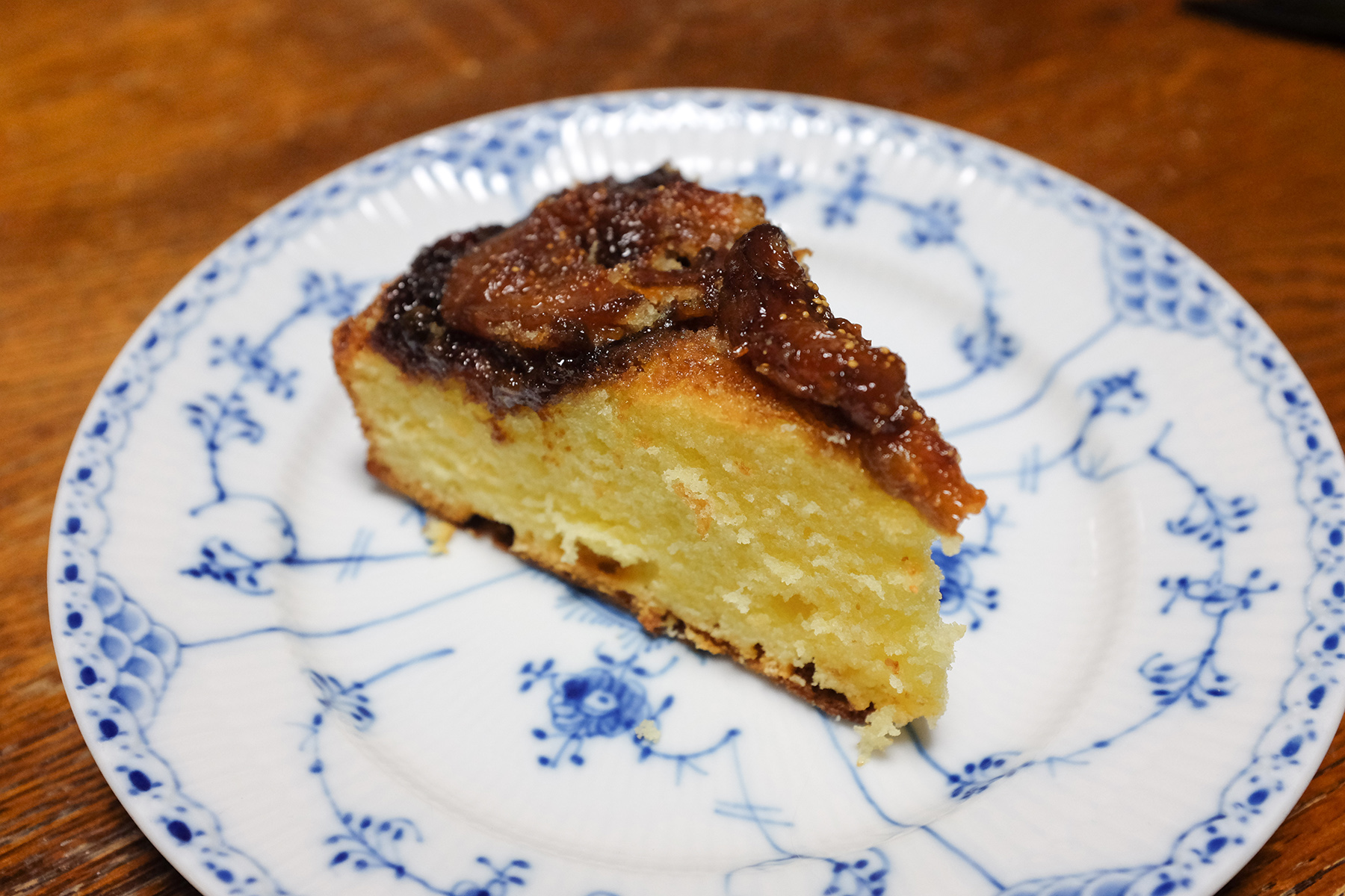 slice of cake with fig topping