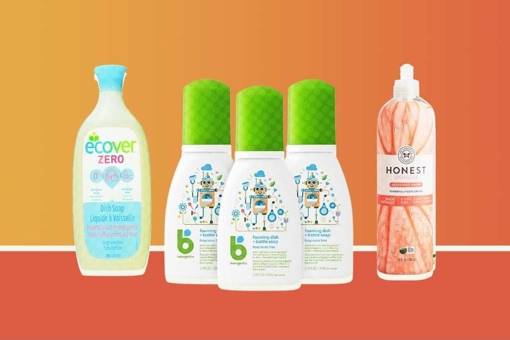 three kinds of eco-friendly dish soaps on an orange background