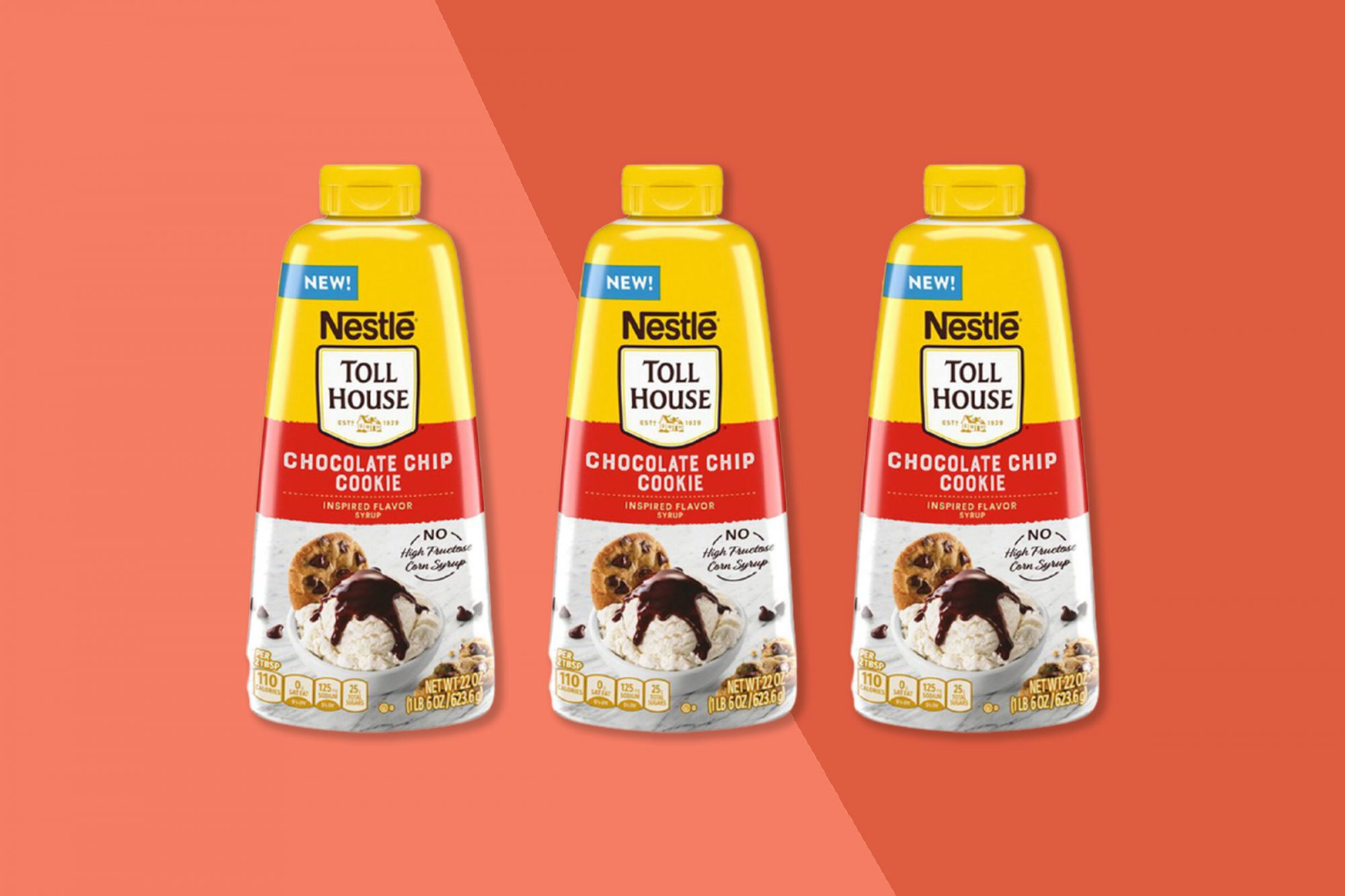 nestle toll house cookie-inspired syrup on background