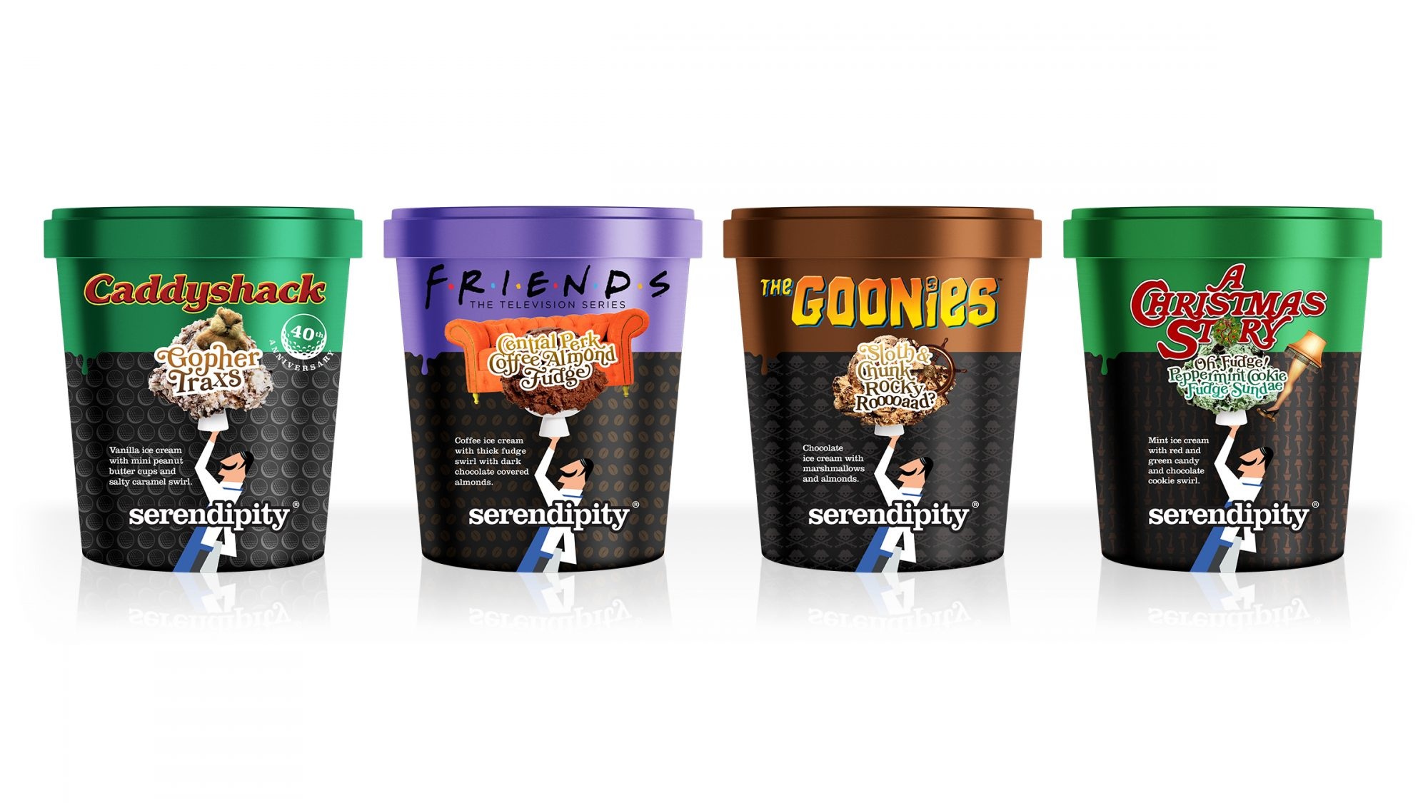 Serendipity Ice Cream - four pints with Caddyshack, Friends, Goonies, and A Christmas Story labels