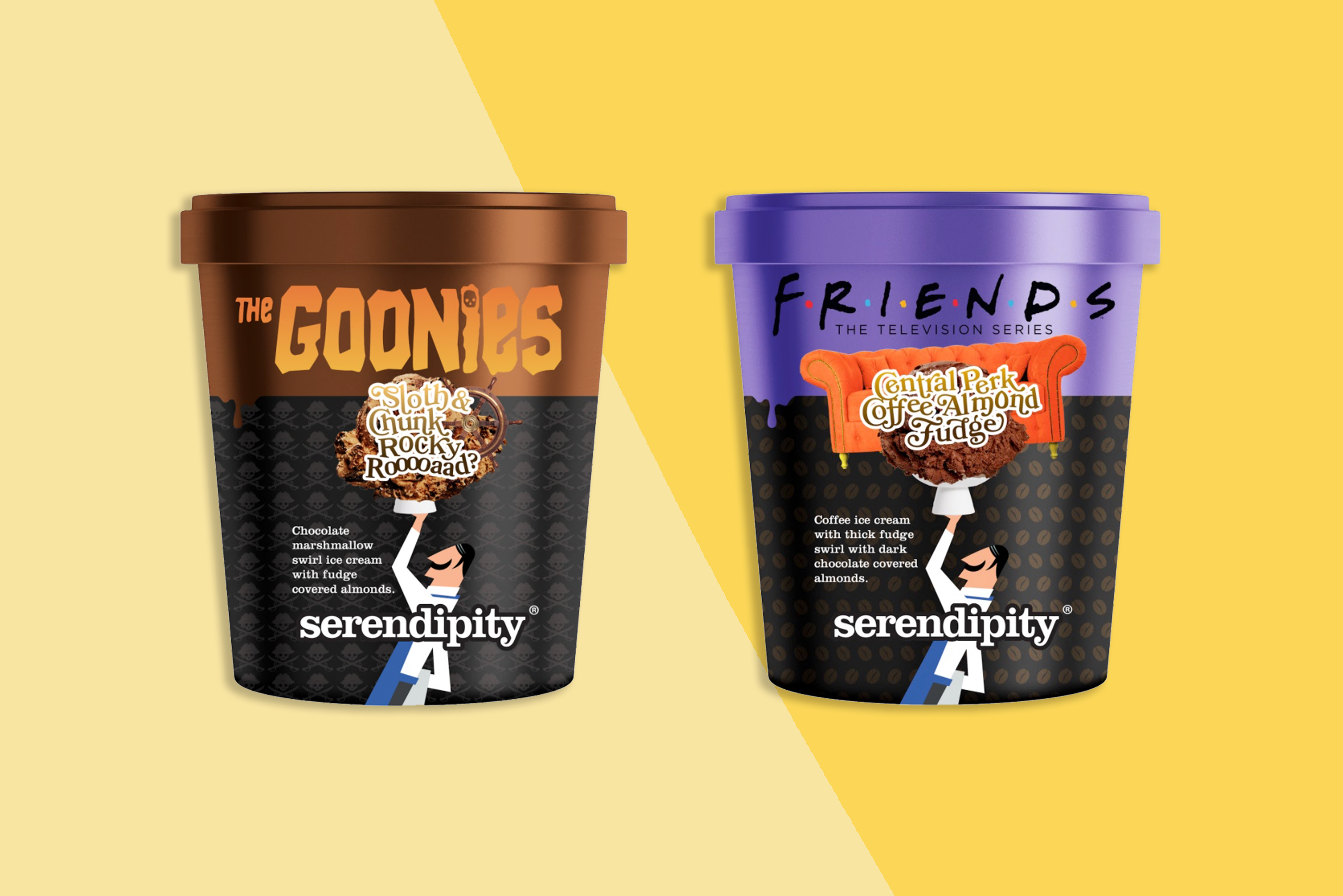 a carton of Goonies ice cream and Friends ice cream on a yellow background