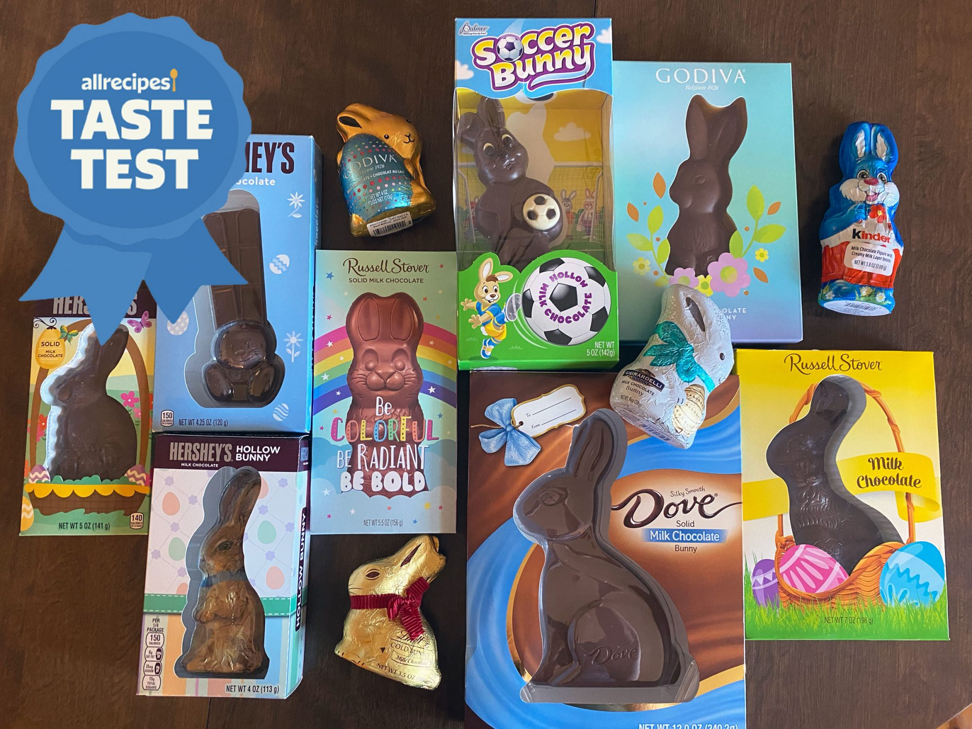 taste test chocolate bunnies - an array of chocolate bunnies in packages are displayed on a wooden table