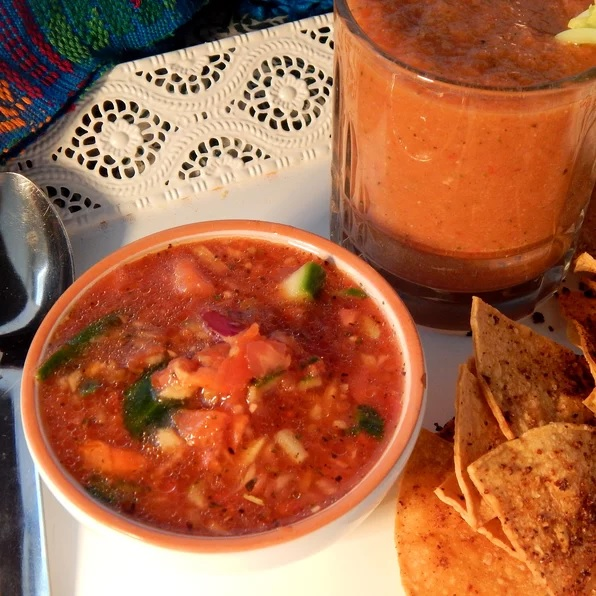 garden gazpacho with tortilla chips