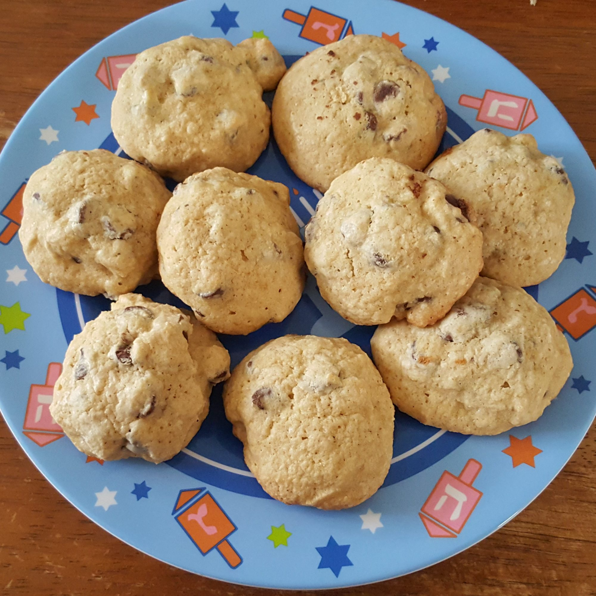 a plate of Passover chocolate chip cookies made with matzo cake meal