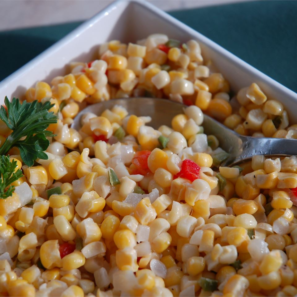 corn with peppers and cilantro