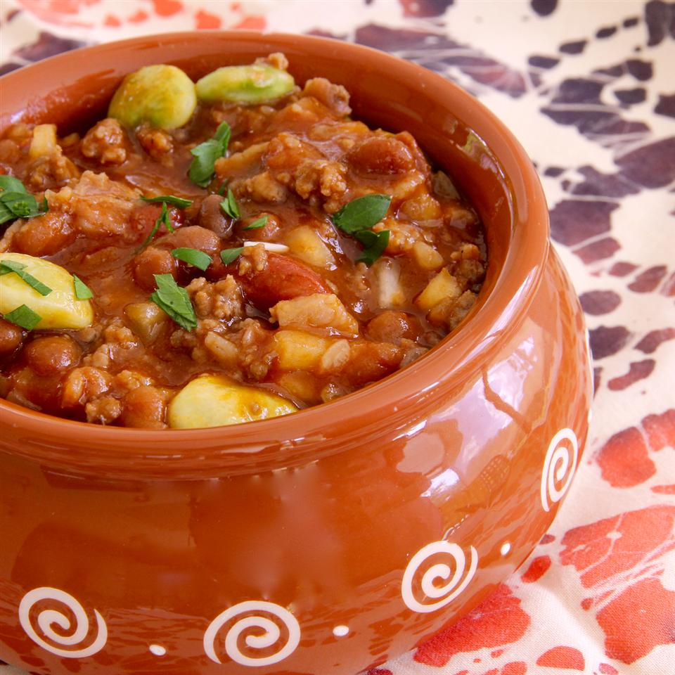 beans in a clay pot