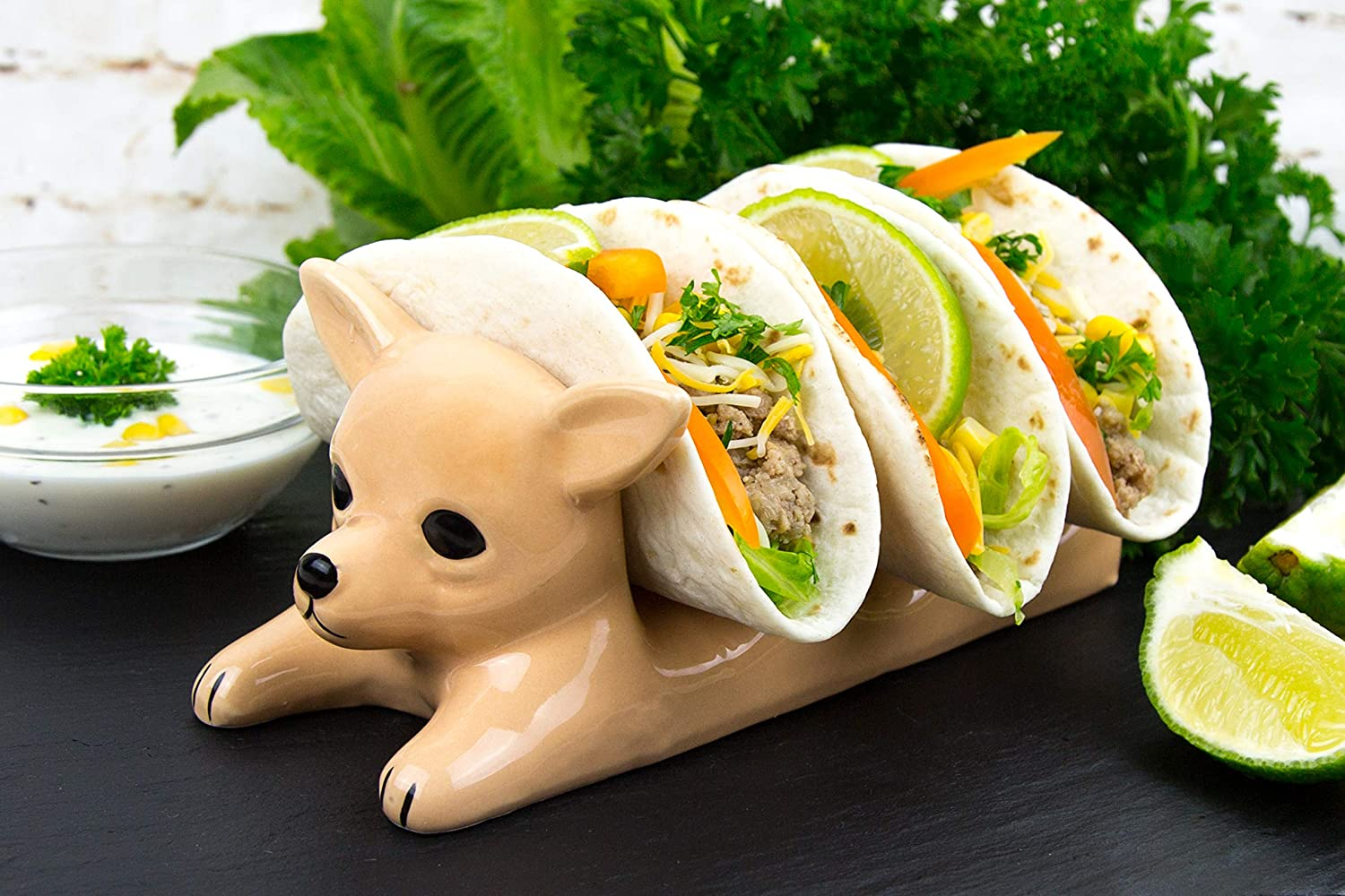 Decorative Ceramic Dog Taco Holder with three tacos in each slot