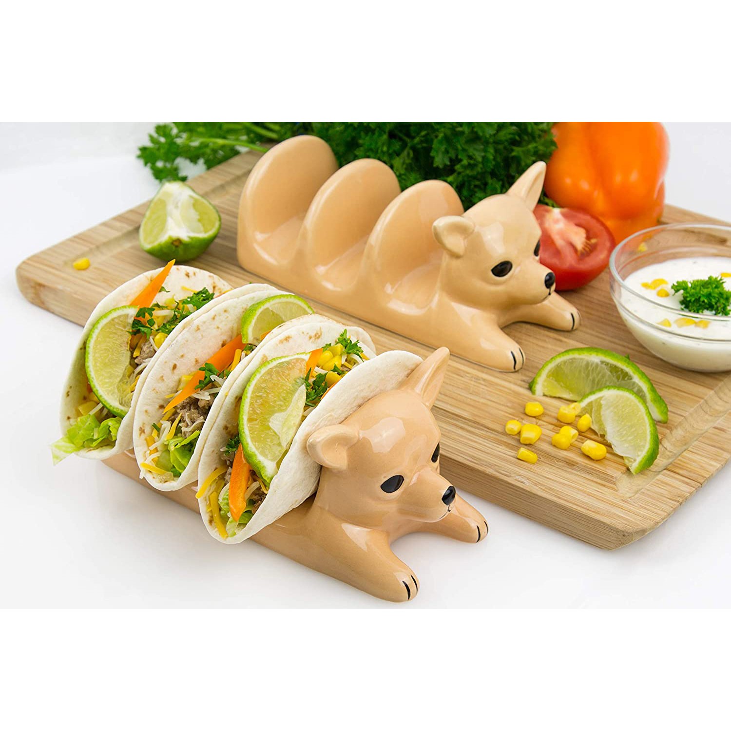side by side Decorative Ceramic Dog Taco Holder with tacos and taco fixings