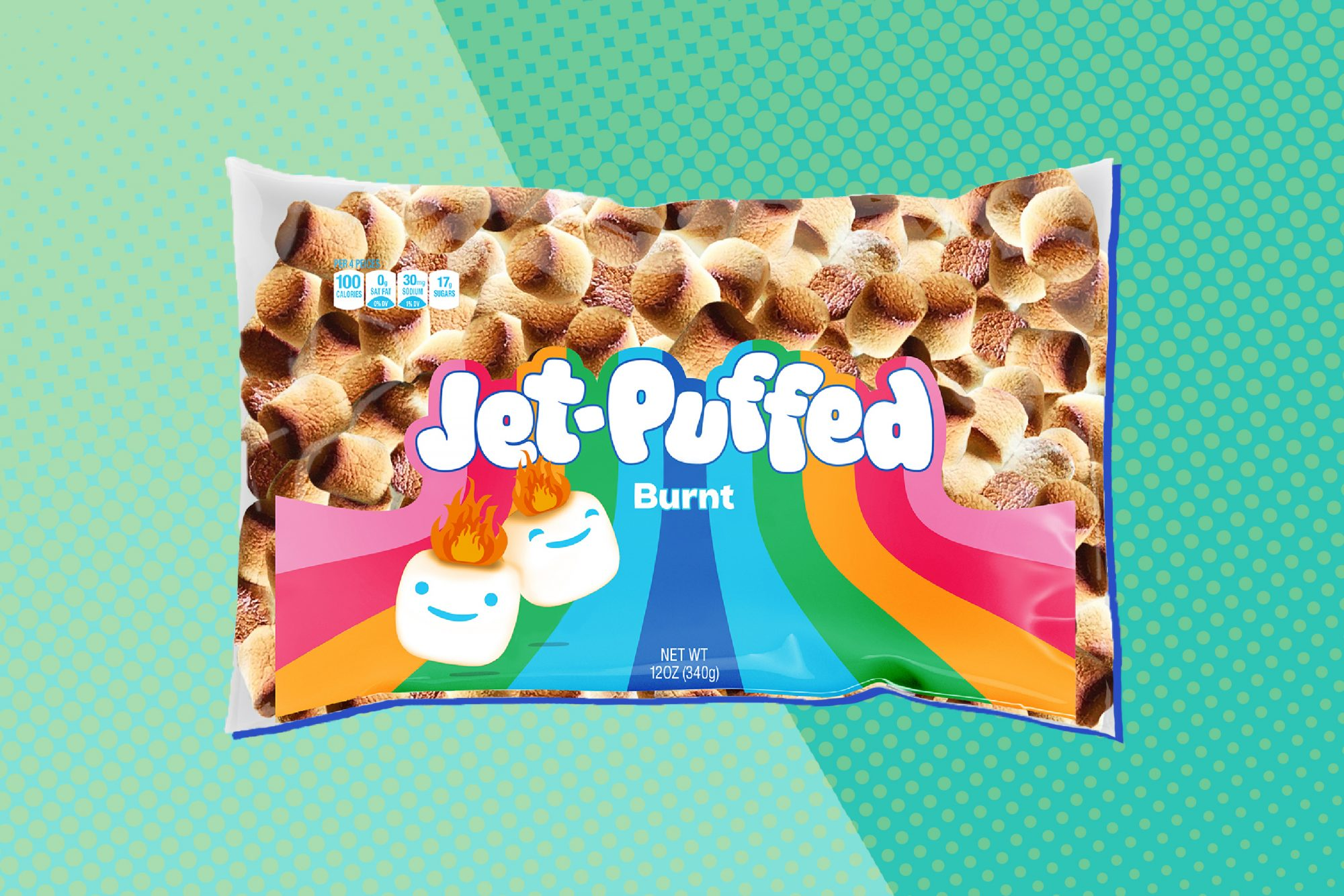 a bag of Jet-Puffed Burnt Marshmallows on a teal background