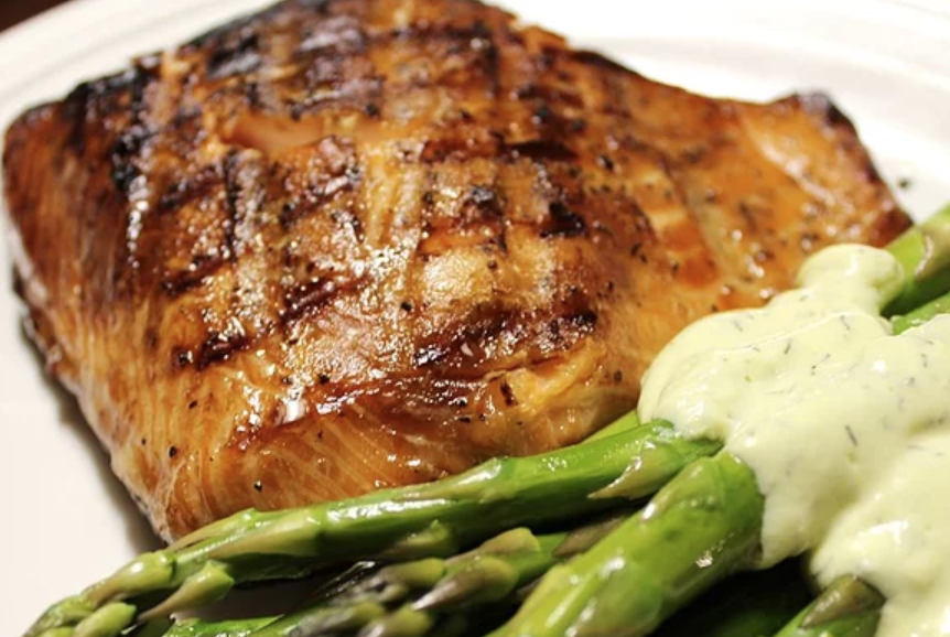 A savory-sweet marinade made with apple juice, maple syrup, and soy sauce will bring out the best in a grilled salmon fillet. It also works well on chicken breasts, according to recipe creator SUDEMERS.