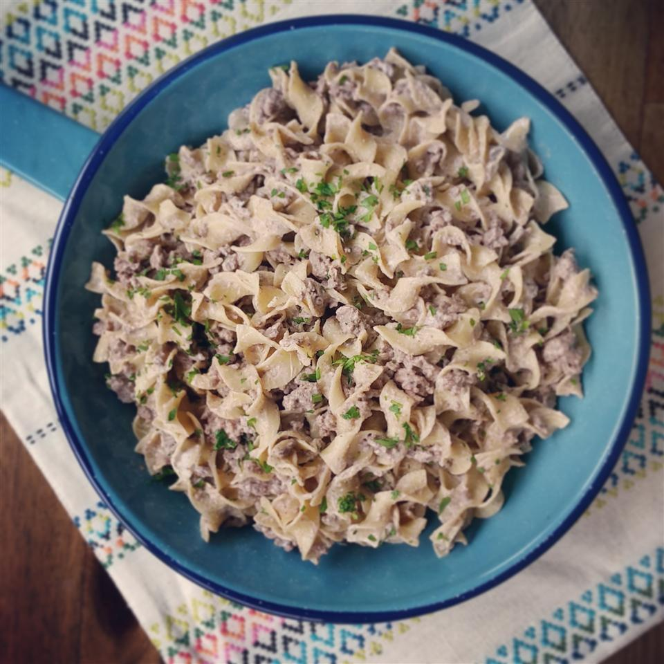 stroganoff in blue bowl on place mat