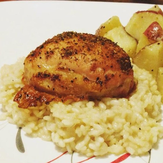 baked chicken thigh on rice