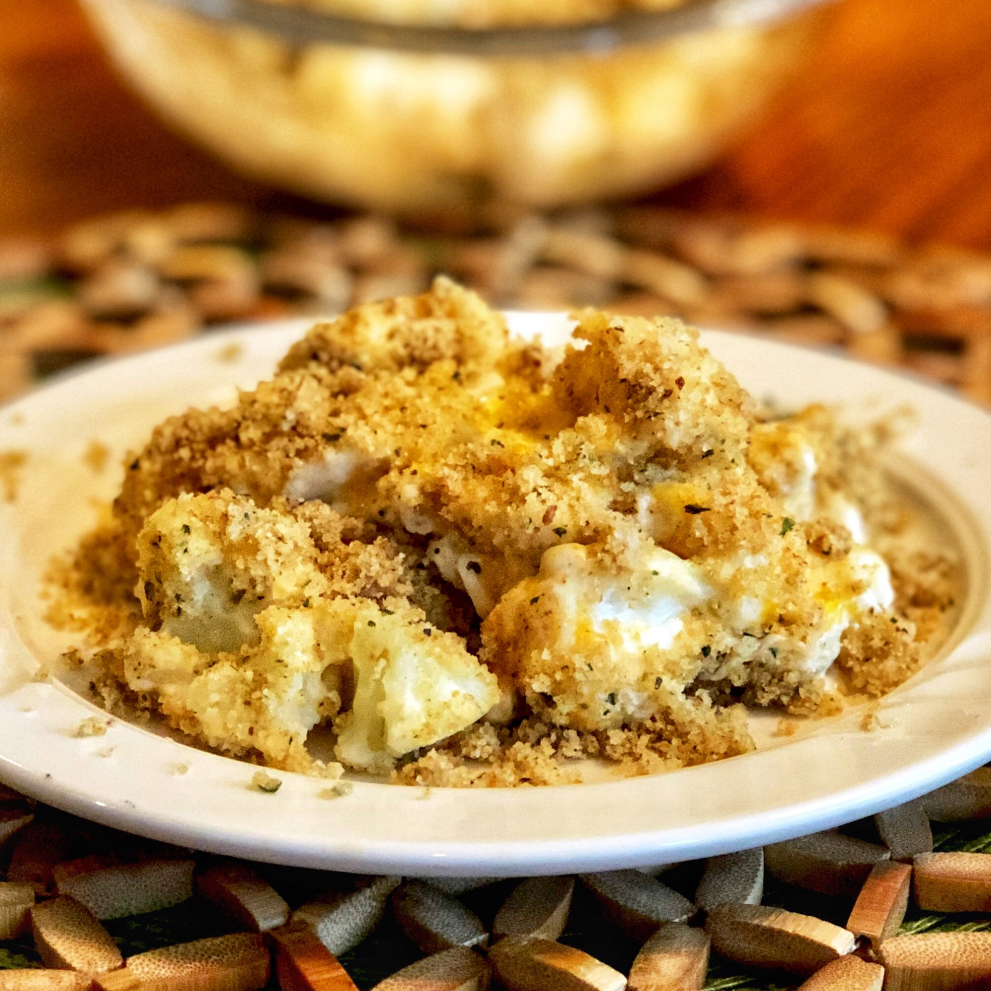 Three-Cheese Cauliflower Casserole on a white plate