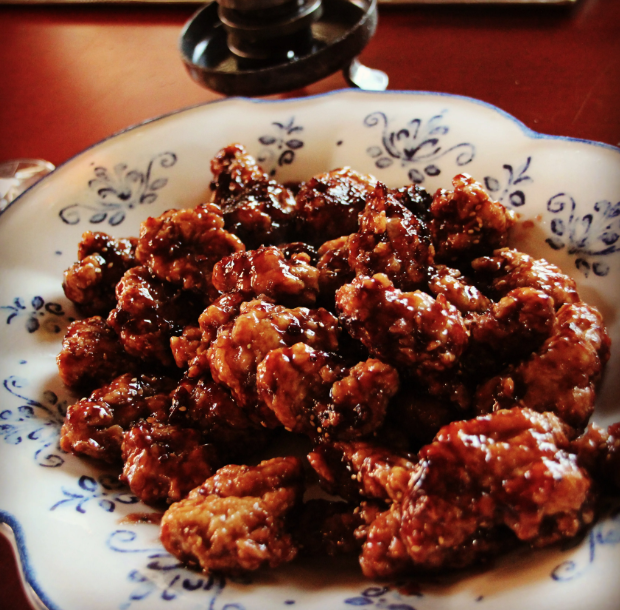 Fried Chicken Thighs with Raspberry Sauce