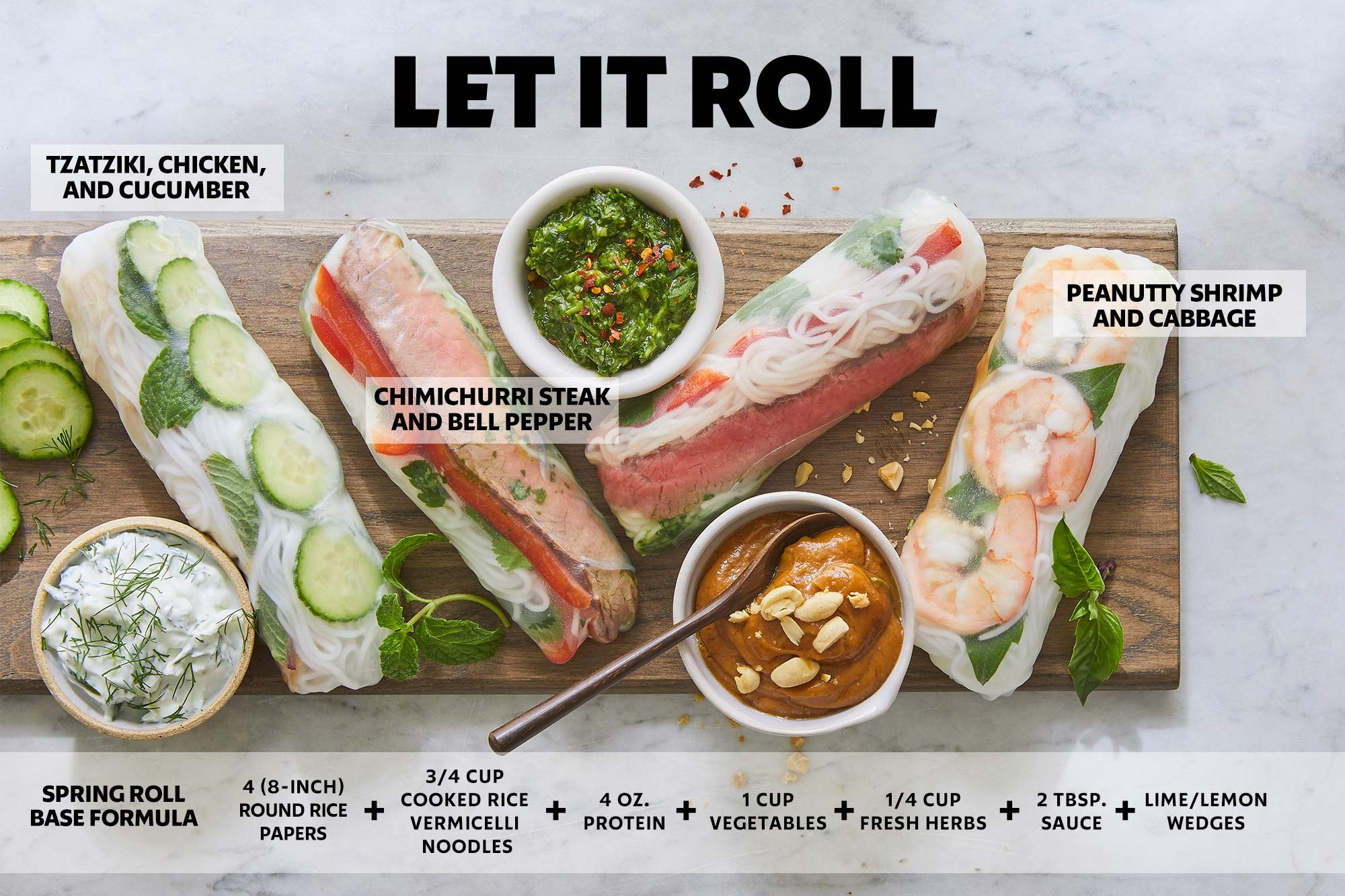 overhead shot of three different kinds of spring rolls with text overlay showing ingredients for each one