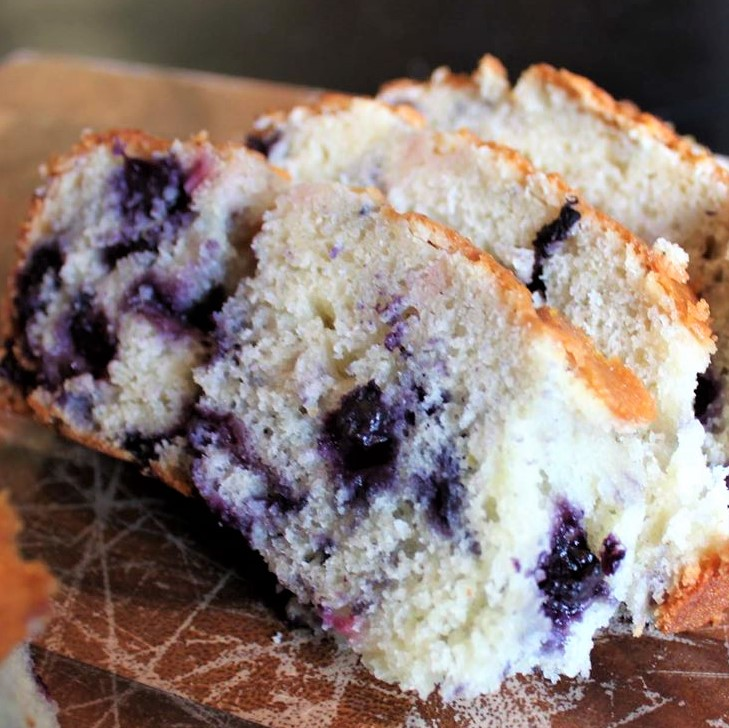 slices of blueberry lemon loaf cake