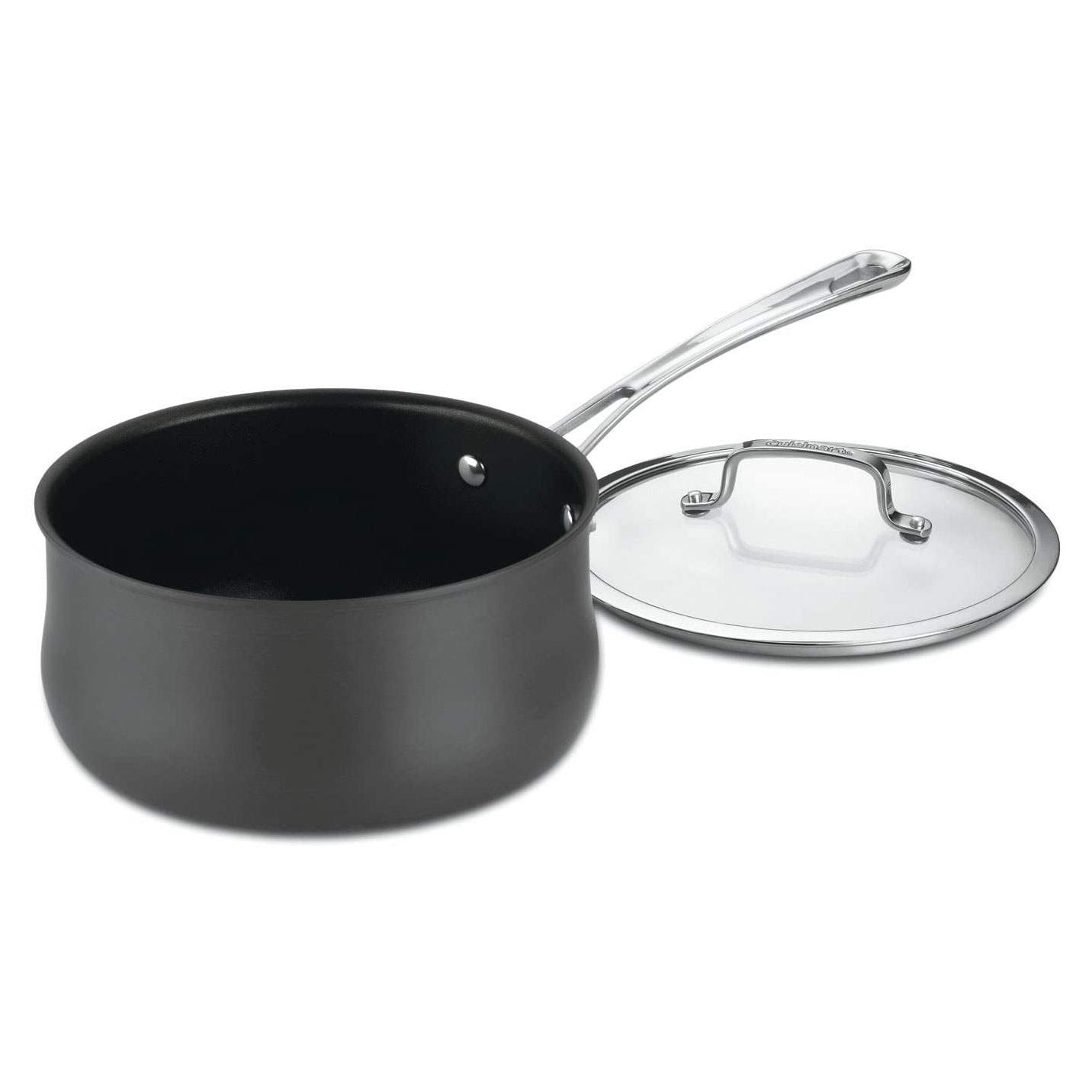 black saucepan with glass lid
