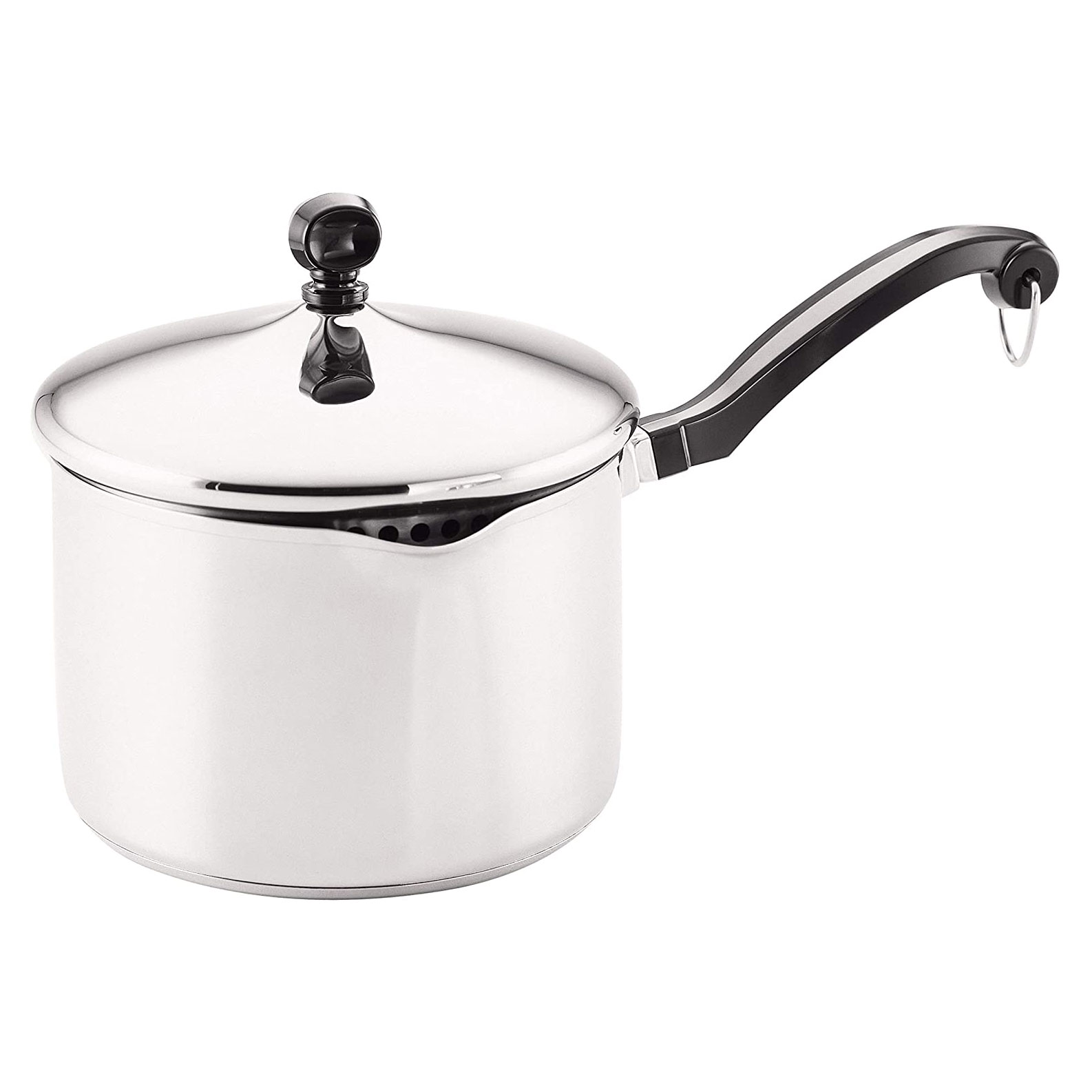 stainless steel covered saucepan with black handle