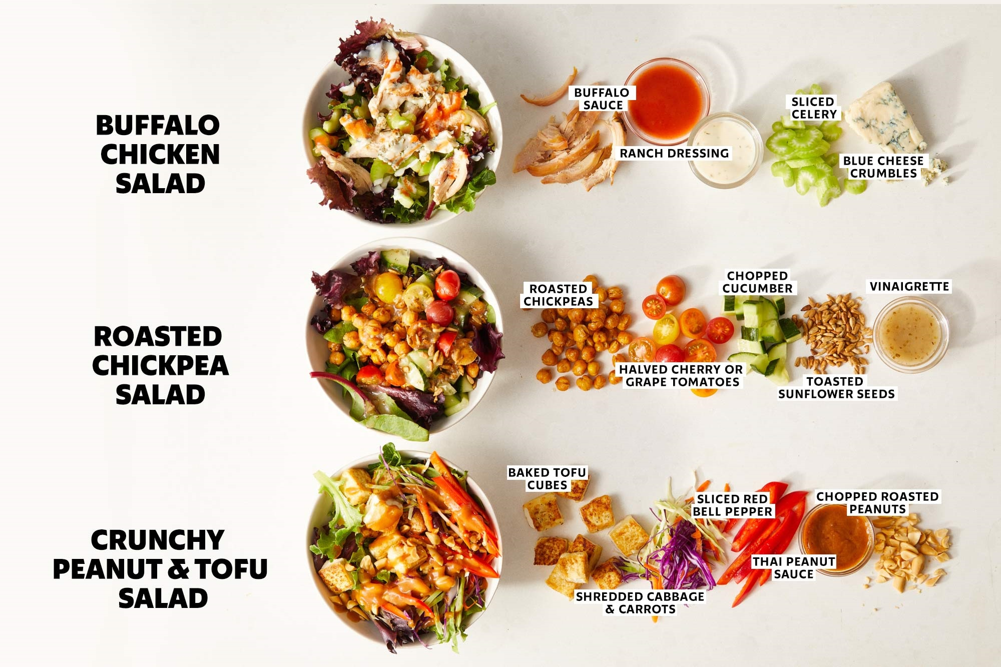 three different salads with ingredient call-outs
