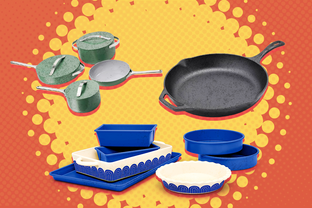 multiple pans and pots on an orange background