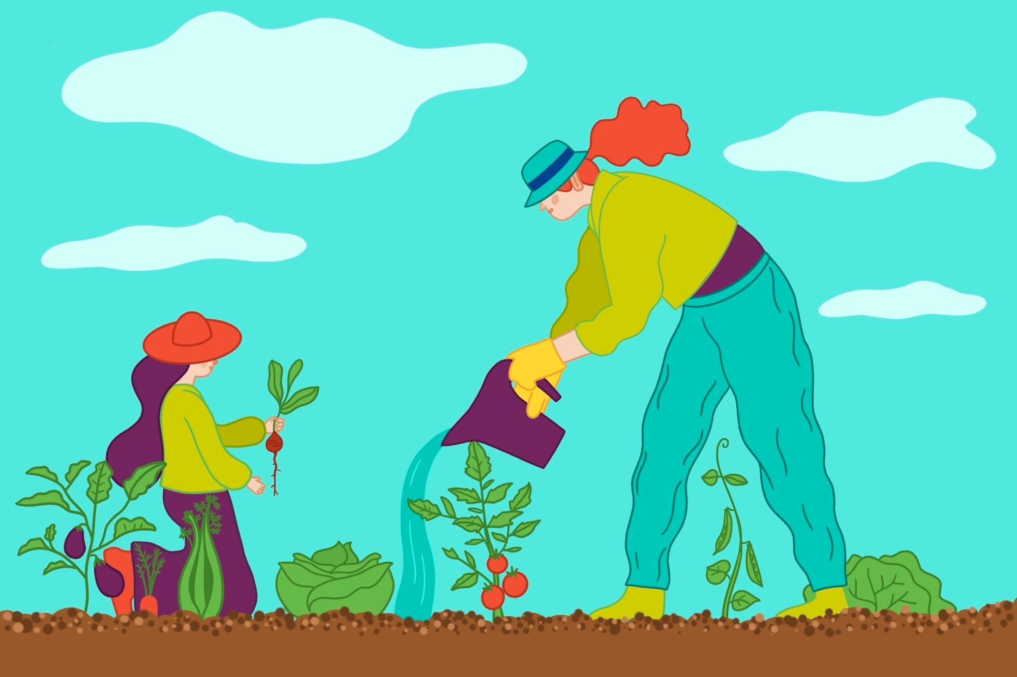 illustration of a woman and child working in a vegetable garden
